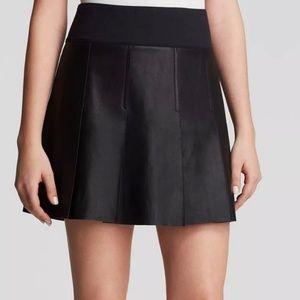 Vince black goat leather pleated mini skirt 8